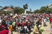 SAN DIEGO, CALIFORNIA - MAY 25: Protesters in Balboa Park as part of a global series of marches agai