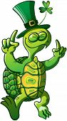 image of carapace  - Nice smiling green turtle wearing a big hat with a clover and raising his arms while dancing and celebrating Saint Patrick - JPG