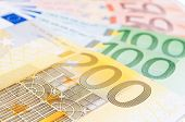 Fan of different european banknotes