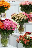 MOSCOW - SEPTEMBER 4: Bouquets of roses at XIX International Flower Show in Gostinnyj dvor, on Septe