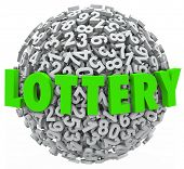 The word Lottery in green letters on a sphere of numbers to illustrate gambling on a raffle or other betting game to win money