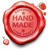 stock photo of exclusive  - hand made exclusive handmade hand craft custom crafted authentic one of a kind art work red stamp label or icon - JPG