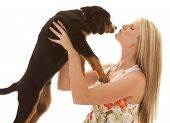 Woman Flower Dress Dog Kiss Close