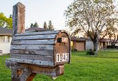 foto of mailbox  - Vintage Wooden Mailbox Old School In the Suburbs - JPG