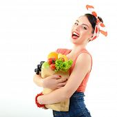 stock photo of pinup girl  - Pinup girl with food bag - JPG
