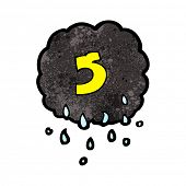 cartoon raincloud with number five