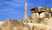 A lone pillar of the prehistoric Greek temple to Apollo stands amid the ruins of ancient Aegina, a s