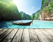 rock of Phi Phi island in Thailand and wooden platform