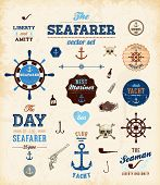 Vector sea set: calligraphic retro design elements and page decoration, Seafarer with Shipbuilder La
