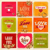 Set of Love and weeding label cards with flowers and hearts for retro invitations design. Old paper textures for vintage design. Vector illustration.
