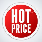 Hot price - red wrinkled sticker  - raster version
