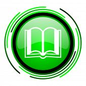 book green circle glossy icon