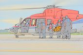 Color Sketch Of Passenger Embark Helicopter