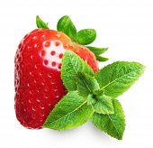 Strawberry macro with green mint leaves  isolated on white