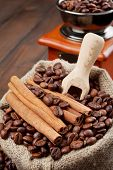 stock photo of wooden box from coffee mill  - sack with coffee beans and coffee grinder