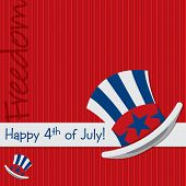 stock photo of uncle  - Patriotic Uncle Sam hat 4th of July card in vector format - JPG