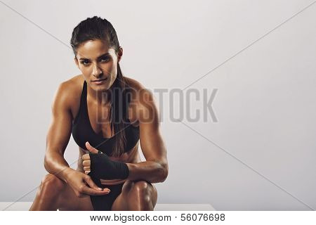 Woman Boxer Getting Ready For Workout poster