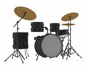 Drums isolated. Black drum kit.