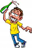 Cartoon of celebrating dunk with champagne bottle