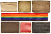 Blank leather jeans labels and colorful belt