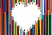 Colored Pencils Forming A Heart Love Topic