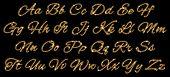 Gold glittering alphabet of stars dust trail. (glittering font concept).