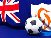 Flag Of Anguilla With Football In Front Of It