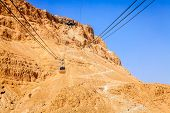 image of masada  - Cable car to the Masada fortress in Israel - JPG