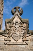 stock photo of william wallace  - Image of the wallace monument showing closeup of coat of arms - JPG
