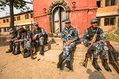 KATHMANDU, NEPAL - Oct 19: Unknown nepalese soldiers Armed Police Force near the public school, Dec