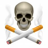 stock photo of addiction to smoking  - Skull with burning crossed cigarettes as  symbol of smoking danger - JPG