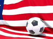 Flag Of Liberia With Football In Front Of It
