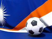 Flag Of Marshall Islands With Football In Front Of It