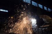 Welder in a steel factory