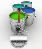 3d  illustration of open buckets with a paint and roller