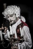 Musket, gentleman rococo era wig
