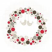 picture of centerpiece  - Abstract colorful season holiday decoration wreath made of dots and flower shapes with little hearts and birds elegant card centerpiece with blank place for your text isolated on white background - JPG