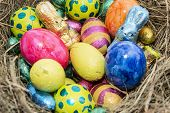 Easter Nest With Chocolate Sweets