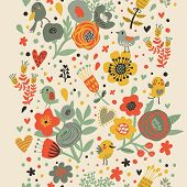 Gentle floral seamless pattern in bright colors. Cute cartoon birds in flowers. Vintage stylish back
