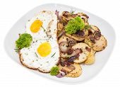 Fried Potatoes And Egg On White