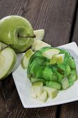 image of jello  - Portion of Apple Jello on a plate - JPG