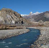 Beautiful blue Marsyangdi River