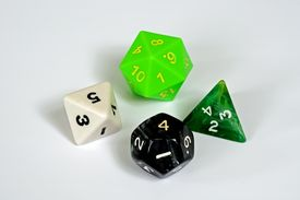 picture of dodecahedron  - Platonic dice selection Eagainst a plain background - JPG