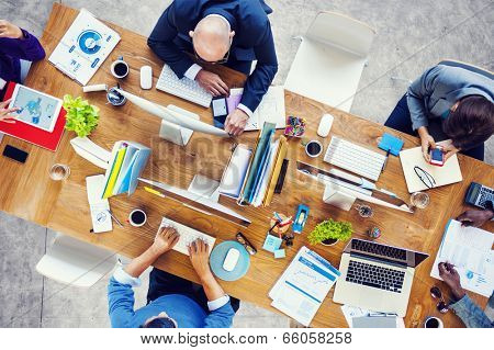 Group of Multiethnic Busy People Working in an Office poster