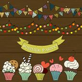 stock photo of cupcakes  - Collection of cute hand drawn doodle elements for outdoor summer cupcake party - JPG