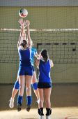 picture of volleyball  - volleyball game sport with group of girls indoor in sport arena - JPG