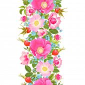 Vertical seamless pattern with flowers and rose hips and forget-me-not.