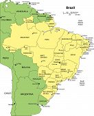 Brazi with Administrative Districts and Surrounding Countries