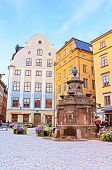 Old Well On Stortorget Square, A Small Public Square, Stockholm