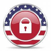 padlock american icon, usa flag